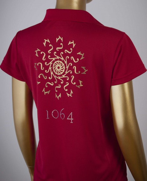 Poloshirt mit Goldprint in der Farbe Red