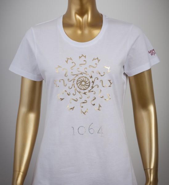T-Shirt mit Goldprint in der Farbe White