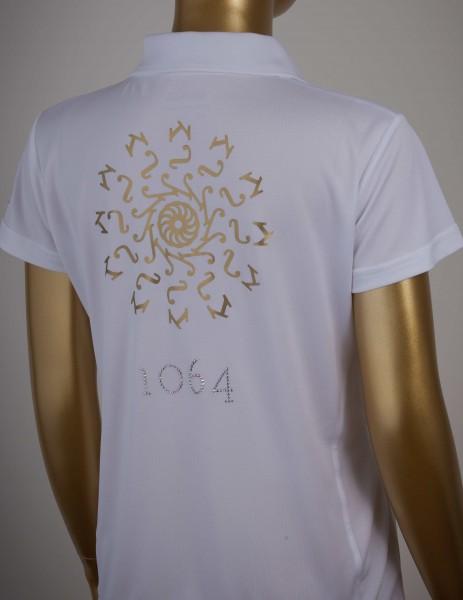 Poloshirt mit Goldprint in der Farbe White