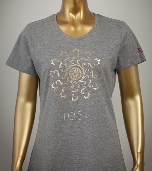 T-Shirt mit Goldprint der Farbe Grey-Heather