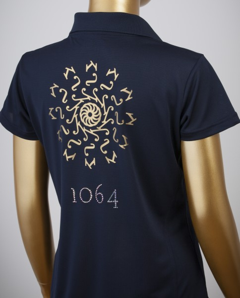 Poloshirt mit Goldprint in der Farbe Navy